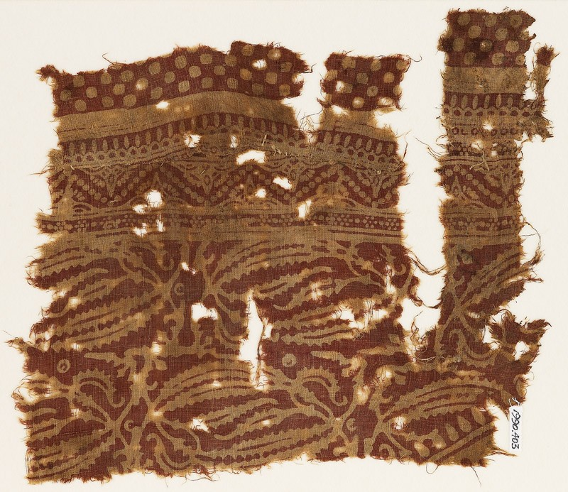 Textile fragment with plants with long leaves (EA1990.403, front            )