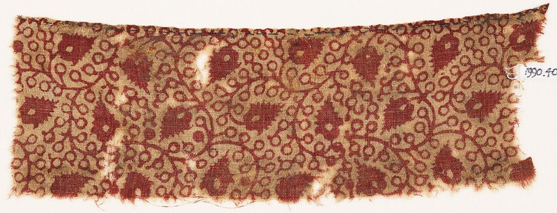 Textile fragment with linked tendrils and flower-heads (front            )