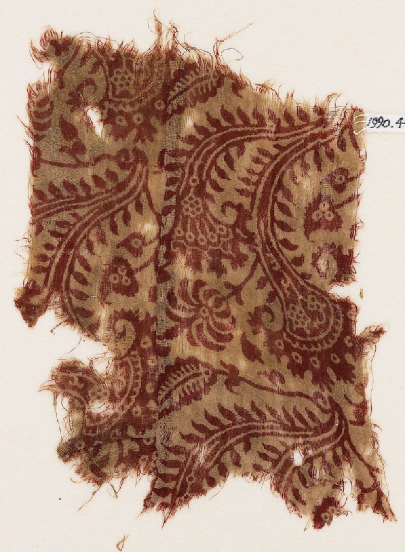 Textile fragment with stalks, tendrils, and rosettes