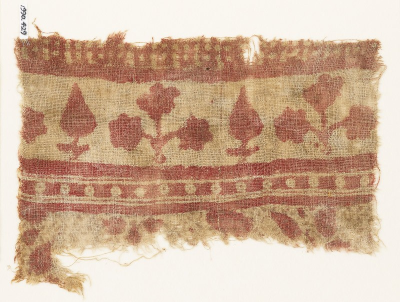 Textile fragment with trees and plants