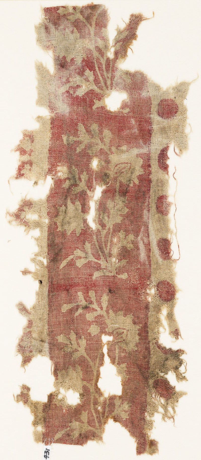 Textile fragment with flowering plants (front            )