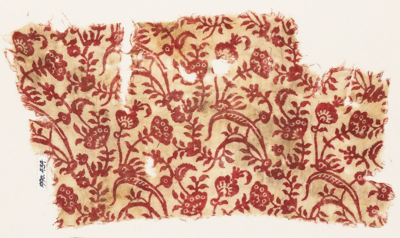Textile fragment with plants, leaves, and flowers (EA1990.434, front            )