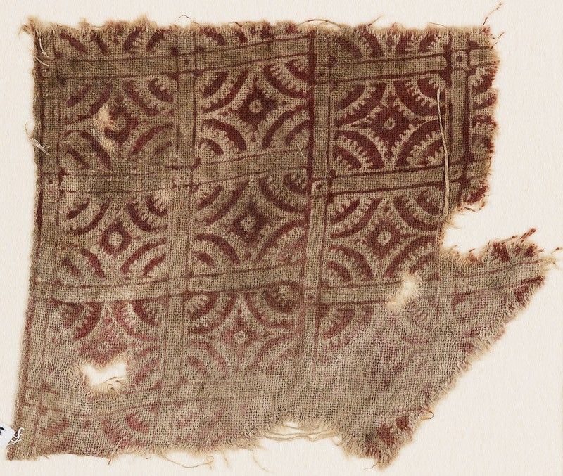 Textile fragment with lines intersecting circles (EA1990.436, front            )