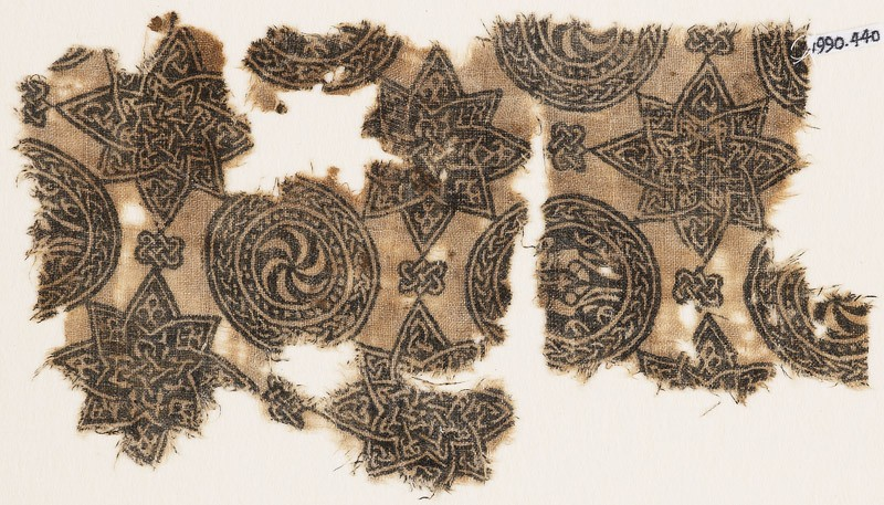Textile fragment with spirals in braided circles, and stars (EA1990.440, front            )