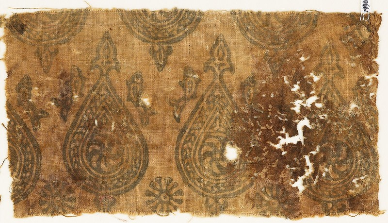 Textile fragment with spirals in braided tear-drops (EA1990.443.a, front              )