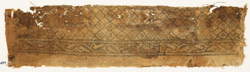Textile fragment with grid of squares and circles (front            )