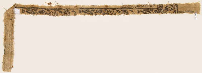 Textile fragment with leaves, carnations, and round flower-heads