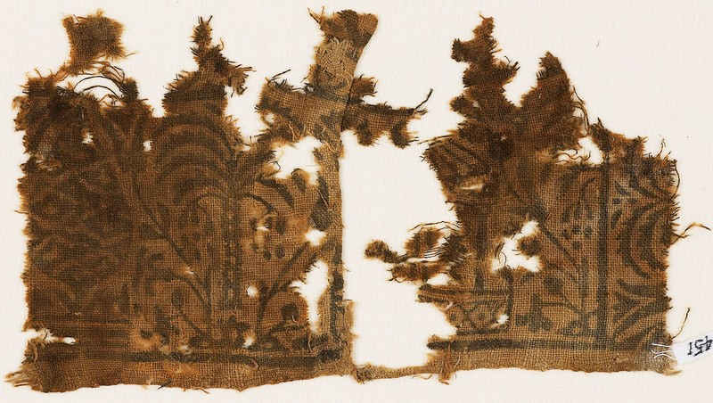 Textile fragment with palm tree, floral design, and part of a pavilion