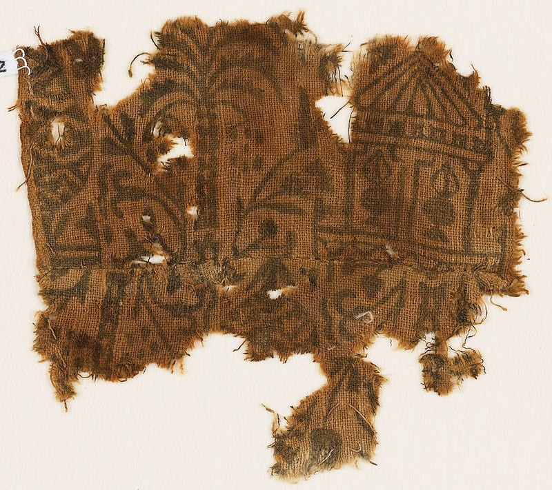 Textile fragment with palm tree, floral patterns, and a pavilion