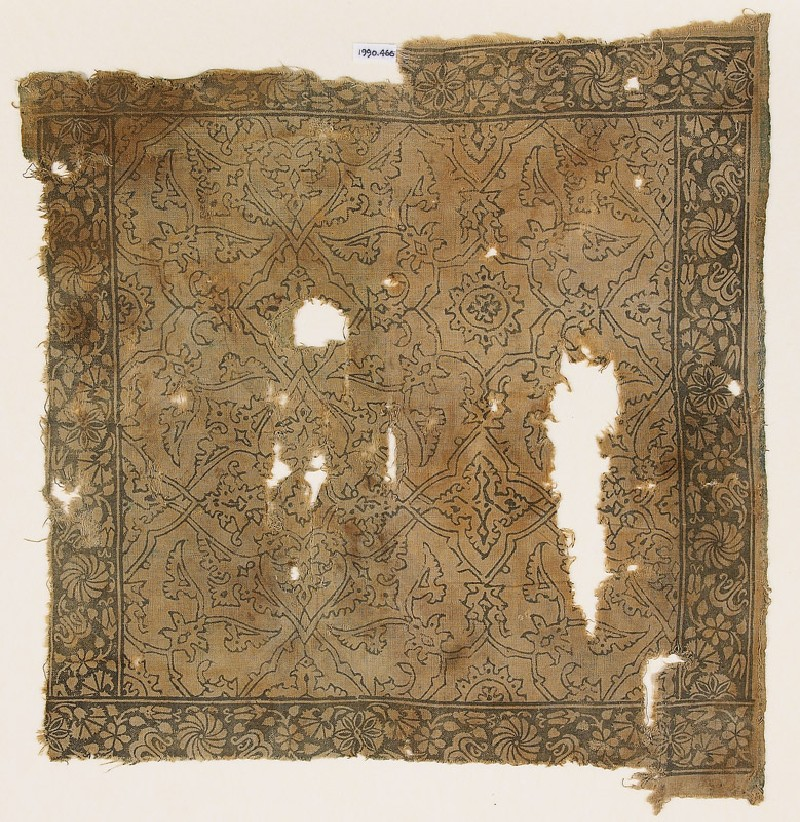 Textile fragment with geometric plants and flowers