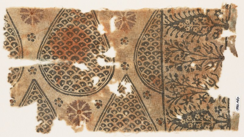 Textile fragment with tear-drops filled with scales, and stylized trees and flowers (front            )