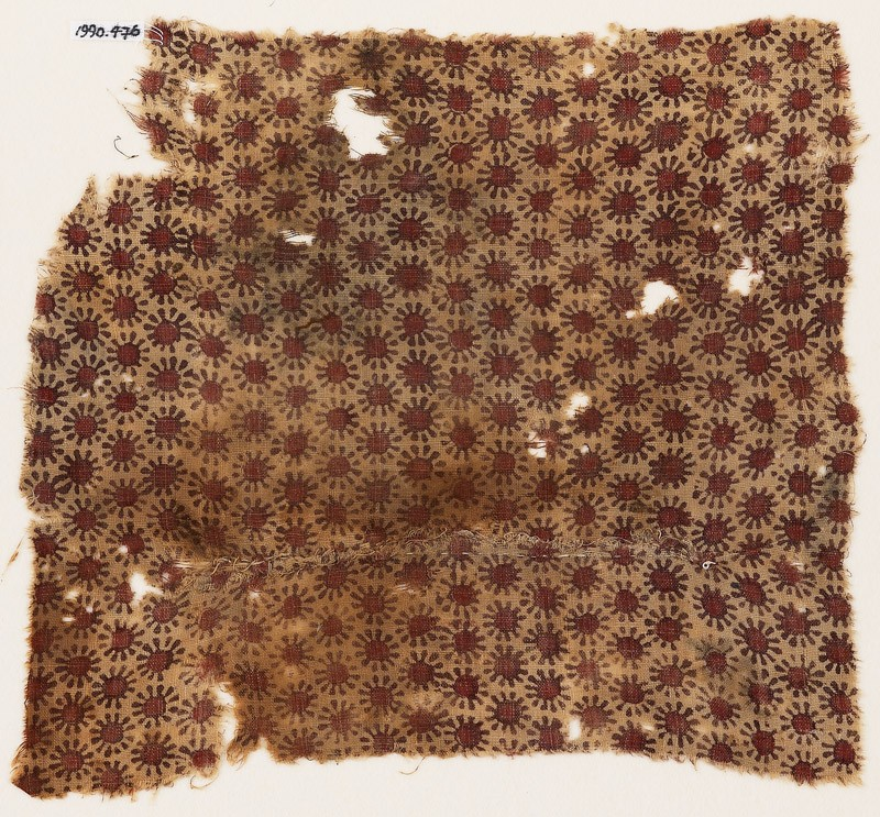 Textile fragment with small rosettes