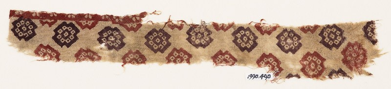 Textile fragment with stepped squares and bandhani, or tie-dye, imitation