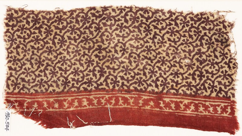 Textile fragment with tendrils and rosettes (EA1990.504, front            )