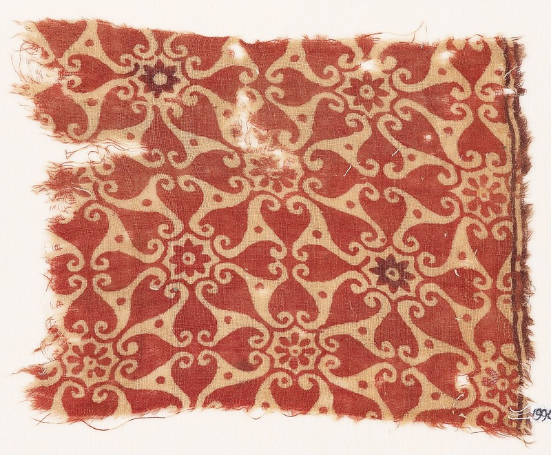 Textile fragment with interlocking spirals or rosettes (EA1990.514, front            )