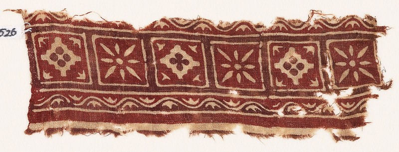 Textile fragment with squares, diamond-shapes, and flowers