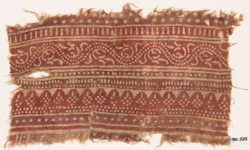 Textile fragment with bands of dotted patterns and vine (EA1990.533, front            )