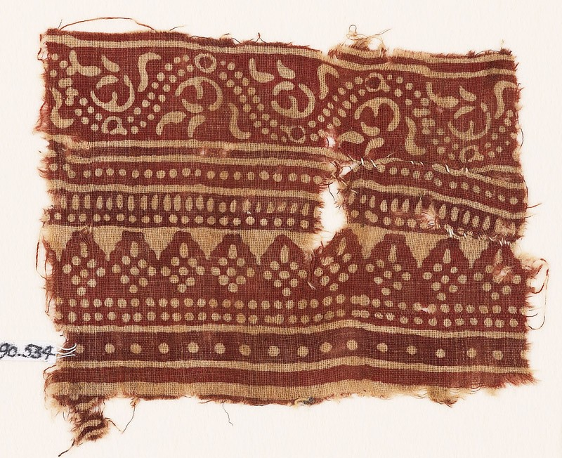 Textile fragment with bands of dotted patterns and vine (EA1990.534, front            )