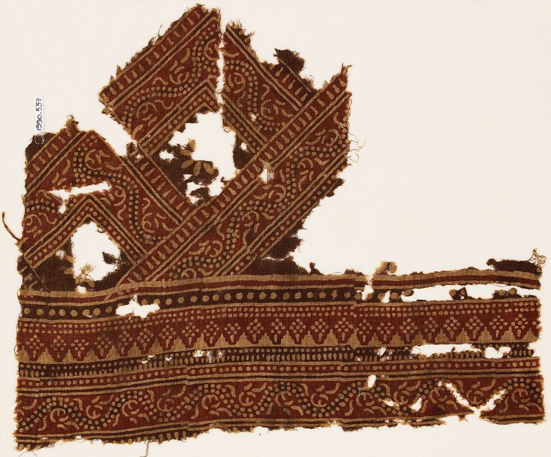 Textile fragment with bands of dotted patterns and vine (EA1990.537, front            )