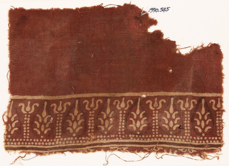 Textile fragment with stylized trees and possibly columns