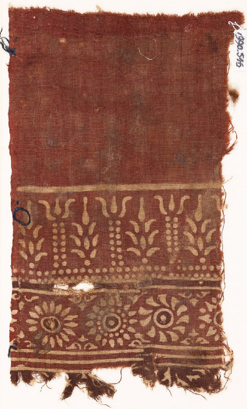 Textile fragment with stylized trees, columns, and rosettes (EA1990.546, front            )