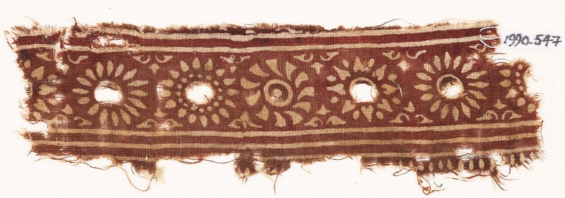 Textile fragment with band of rosettes (EA1990.547, front            )