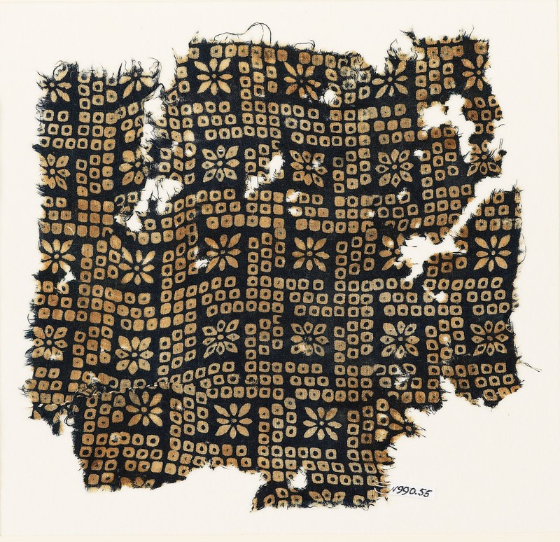 Textile fragment with bandhani, or tie-dye, imitation and rosettes (EA1990.55, front           )