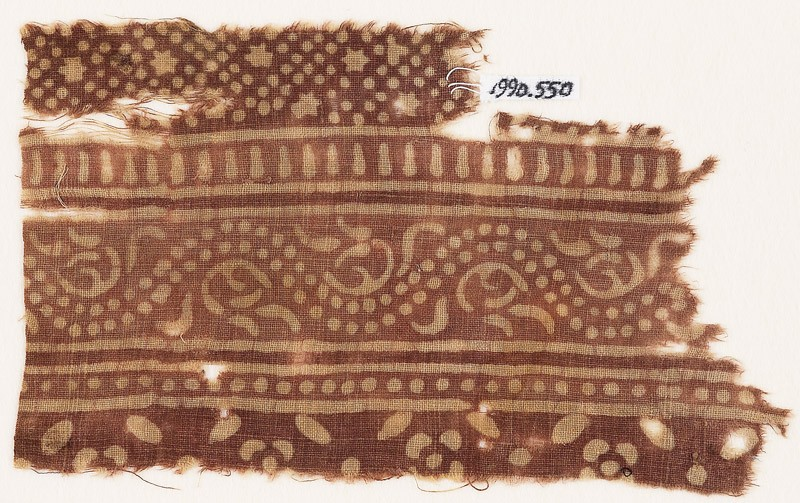 Textile fragment with bands of dotted vine, small stars and dots, and flowers (EA1990.550, front            )