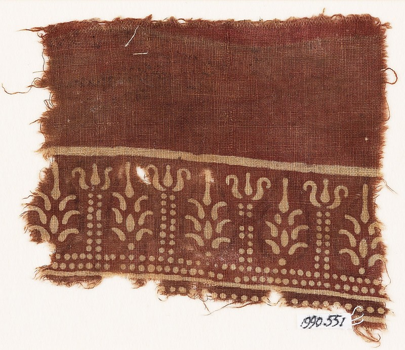 Textile fragment with columns and stylized trees (EA1990.551, front            )