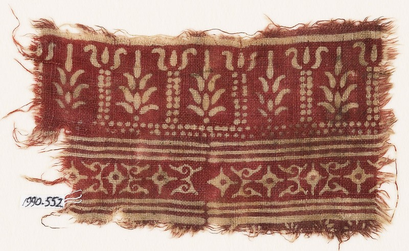 Textile fragment with columns, stylized trees, diamond-shapes, and leaves