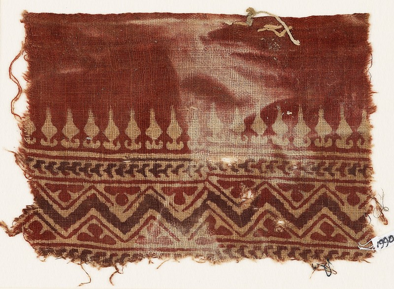 Textile fragment with stylized bodhi leaves, chevrons, and zigzag
