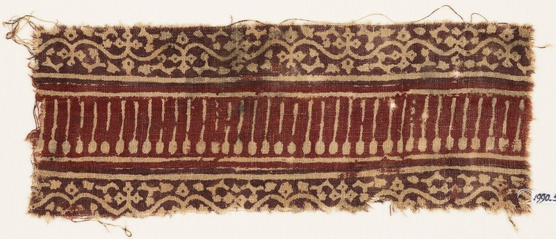 Textile fragment with vines, flowers, tendrils, and lines (EA1990.576, front            )