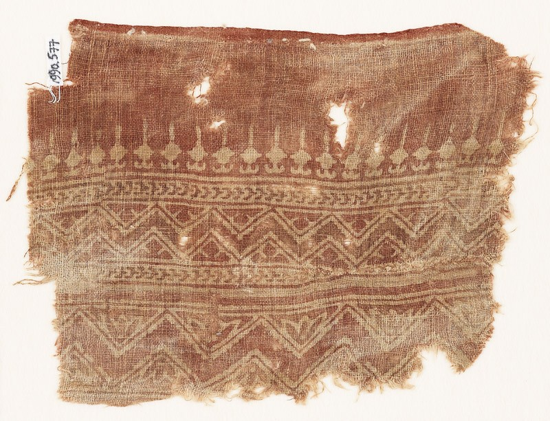 Textile fragment with bands of zigzag, chevrons, and bodhi leaves (EA1990.577, front            )