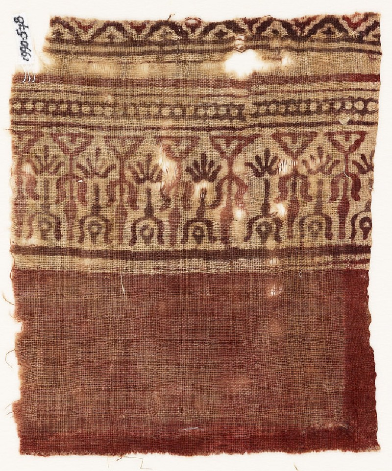Textile fragment with stylized trees (EA1990.578, front            )