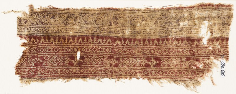 Textile fragment with bands of leaves, vine, quatrefoils, and diamond-shapes