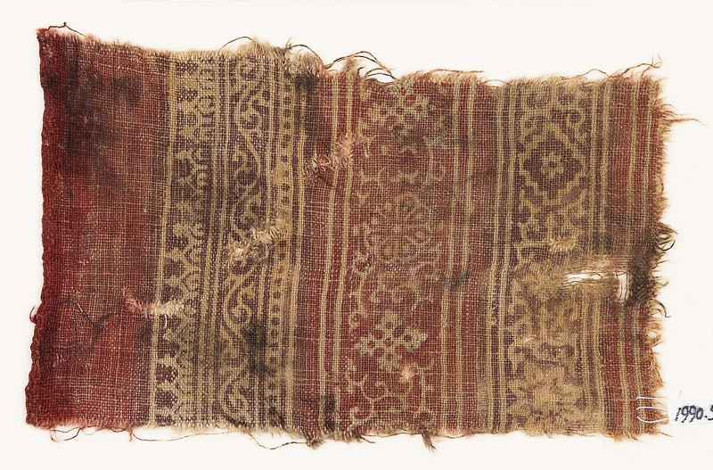 Textile fragment with vine, rosettes, tendrils, stars, and diamond-shapes (EA1990.588, front            )