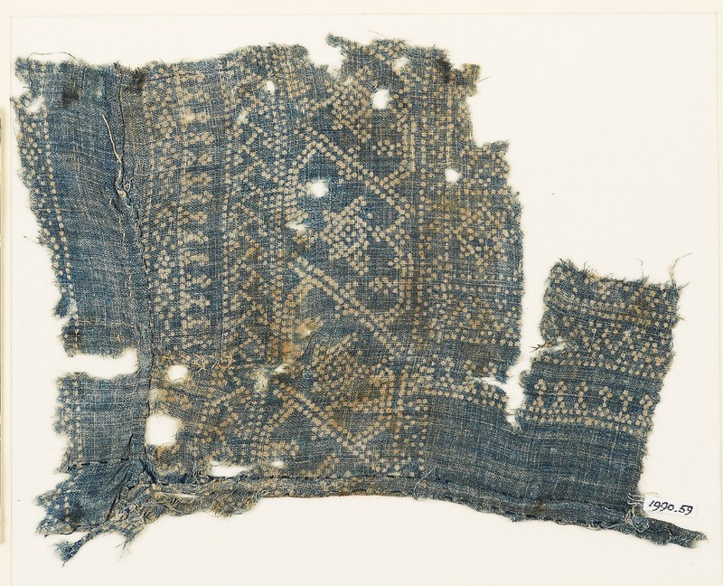 Textile fragment with dots, Z-shapes, and stars (EA1990.59, front           )