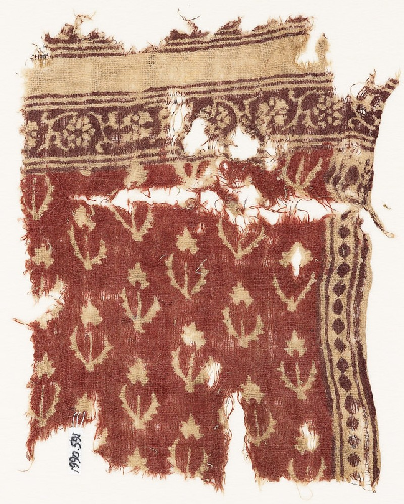 Textile fragment with flowers, stems, and leaves (EA1990.591, front            )