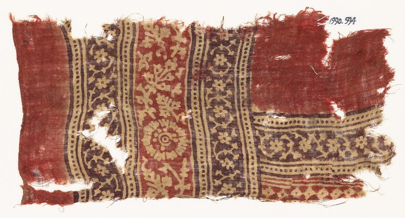 Textile fragment with bands of rosettes, leaves, and tendrils