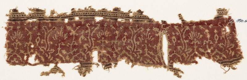 Textile fragment with plants, half-medallions, and flowers