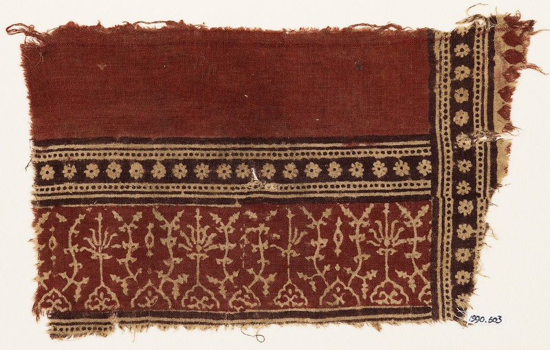 Textile fragment with plants, half-medallions, and bands of rosettes (EA1990.603, front            )