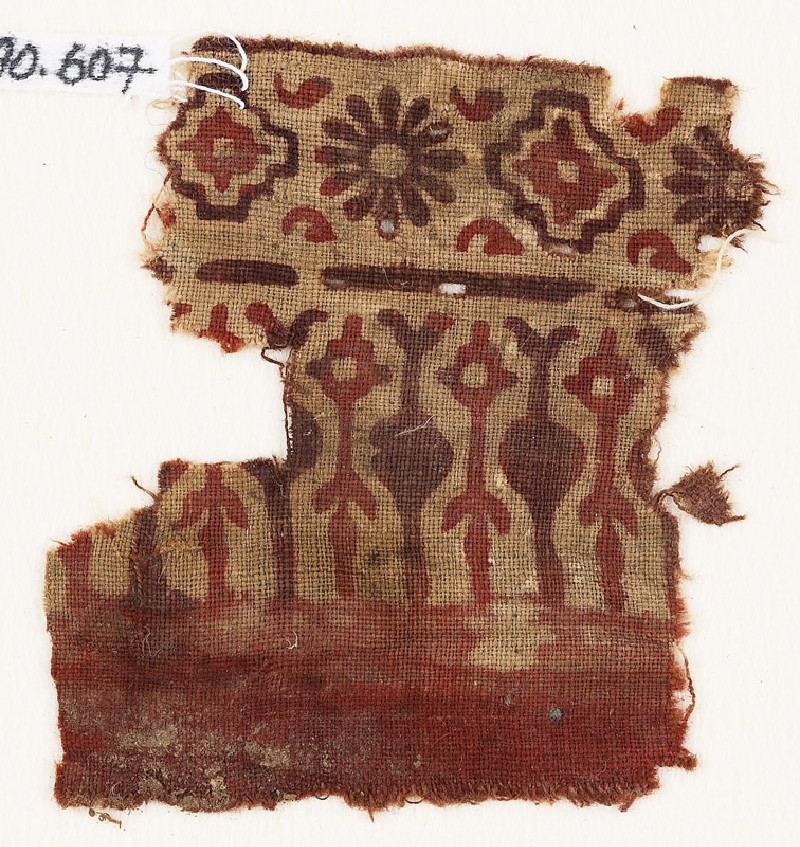 Textile fragment with stylized trees or leaves, rosettes, and stepped squares (EA1990.607, front            )