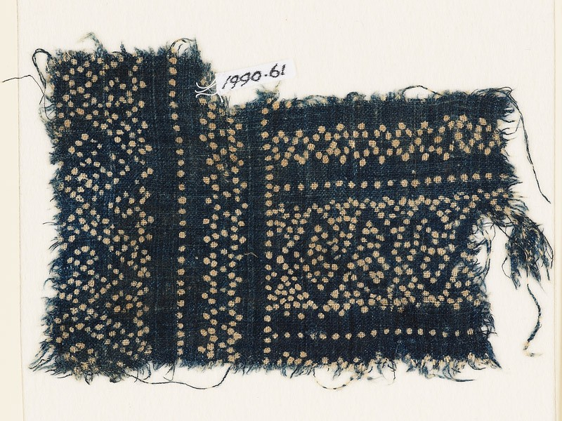 Textile fragment with dots arranged in geometric patterns (EA1990.61, front           )