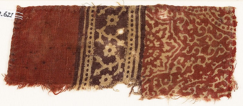 Textile fragment with tendrils, dotted frames, and rosettes (EA1990.621, front            )