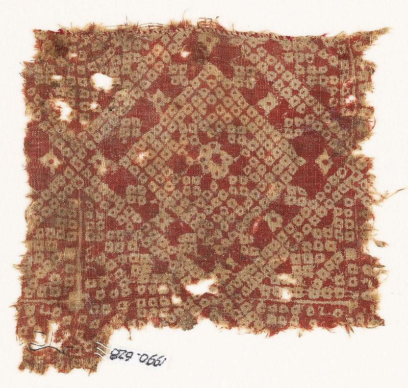 Textile fragment imitating bandhani, or tie-dye, with squares