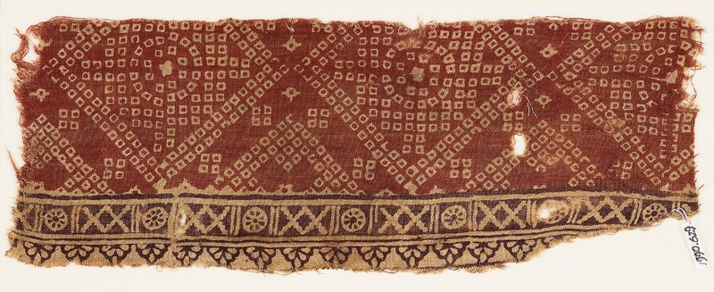 Textile fragment with crosses, rosettes, and bandhani, or tie-dye, imitation (EA1990.629, front            )