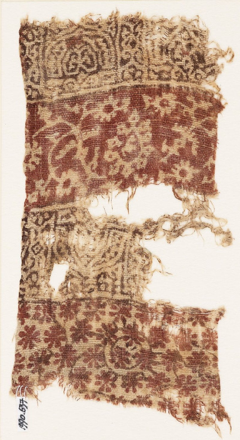 Textile fragment with arches, rosettes, and crossed tendrils (front            )