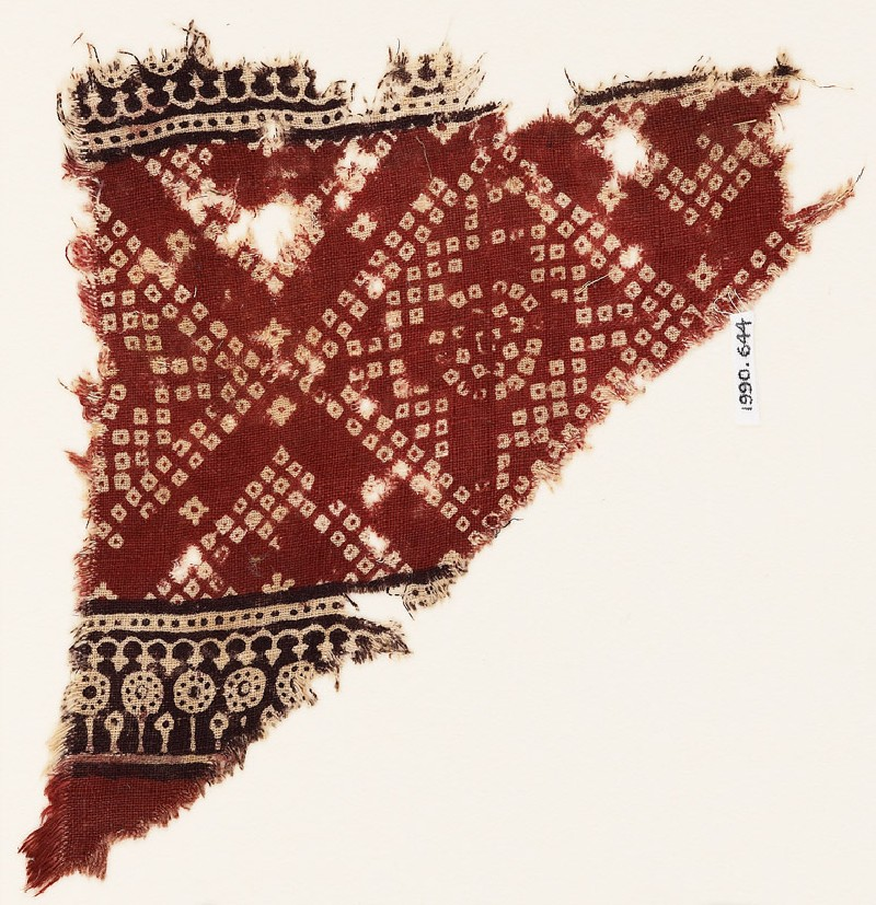 Textile fragment with squares, arches, and bandhani, or tie-dye, imitation (EA1990.644, front            )