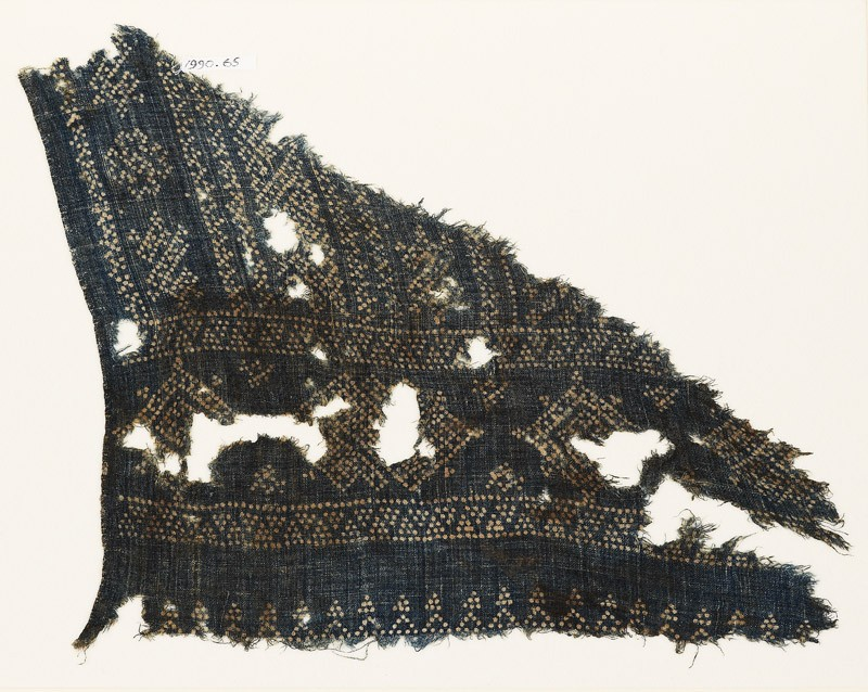 Textile fragment with geometric patterns, diamond-shapes, and zigzags made of dots (EA1990.65, front           )