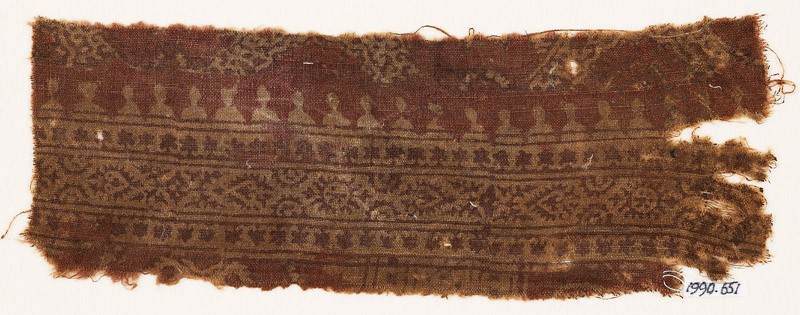 Textile fragment with bands of stars, hearts, circles, and crenellations (EA1990.651, front            )